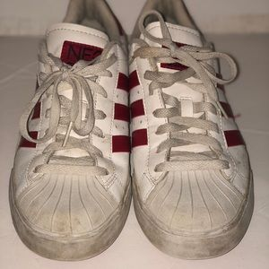 Vintage red and white adidas shell toe 3 stripe